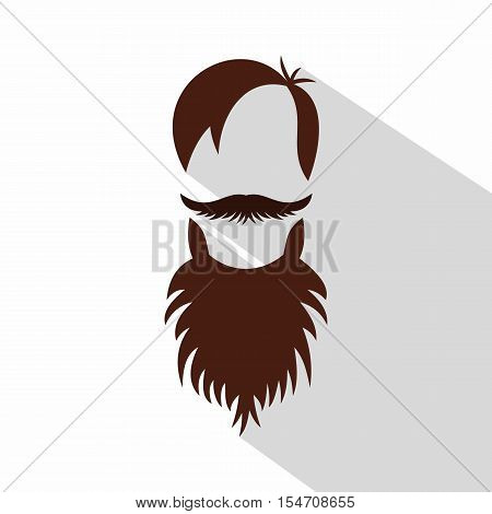 Men hairstyle with beard and mustache icon. Flat illustration of men hairstyle vector icon for web isolated on white background