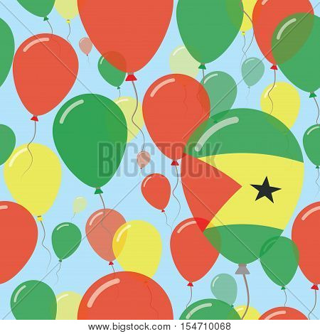 Sao Tome And Principe National Day Flat Seamless Pattern. Flying Celebration Balloons In Colors Of S
