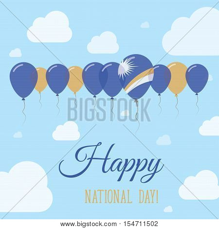 Marshall Islands National Day Flat Patriotic Poster. Row Of Balloons In Colors Of The Marshallese Fl