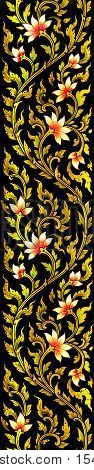 long lotus flower images artistic from Thai painting & literature for background or wallpaper (General Thai Temple Art)