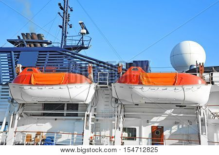 Safety Lifeboat On Ship Deck.
