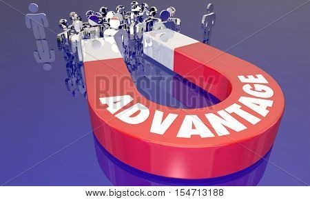 Advantage Competitive Edge Magnet Attracting More Customers 3d Illustration