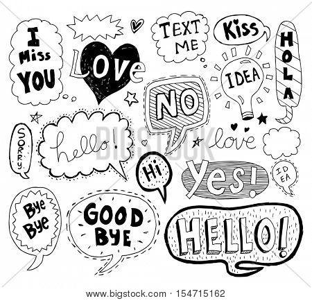Hand drawn vector speech bubbles