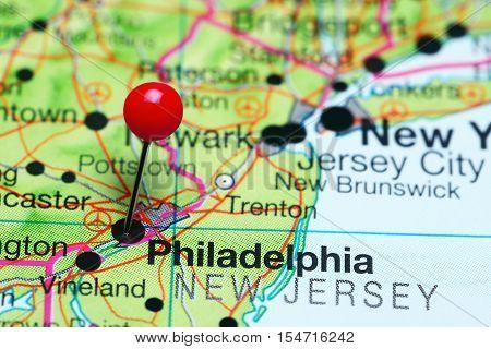 Philadelphia pinned on a map of Pennsylvania, USA