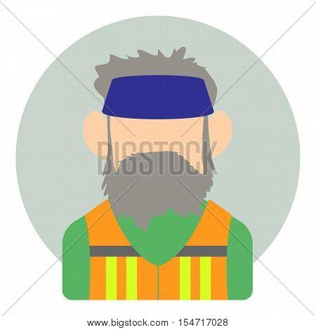 Avatar man with beard icon. Flat illustration of avatar man with beard vector icon for web