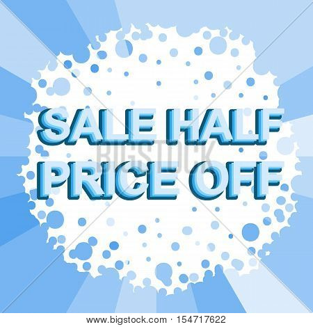 Big winter sale poster with BAKE SALE text. Advertising blue  banner template