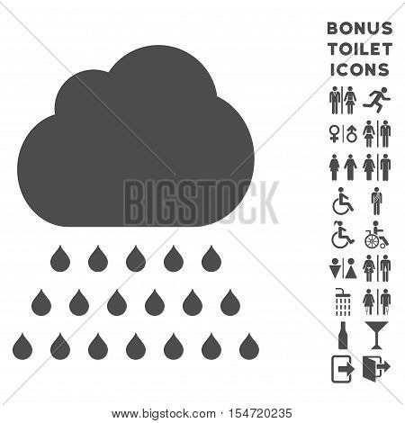 Rain Cloud icon and bonus gentleman and female WC symbols. Vector illustration style is flat iconic symbols, gray color, white background.