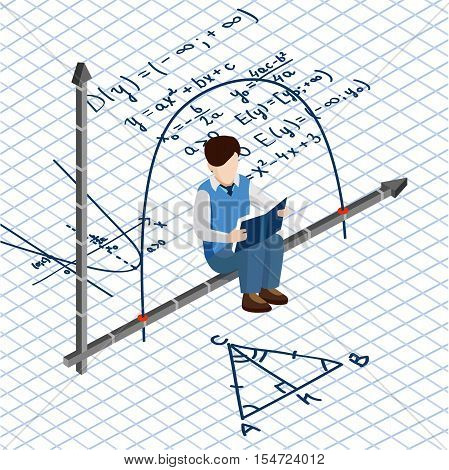 Isometric people. School routine. The student is sitting on the mathematical graph of the equation of a parabola in the back the background of math