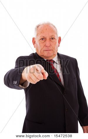 senior businessman pointing to you (isolated on white)