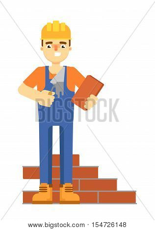 Bricklayer in uniform and helmet holding brick and trowel isolated on white background vector illustration. Mason manwith spatula. Smiling construction worker character in flat design.