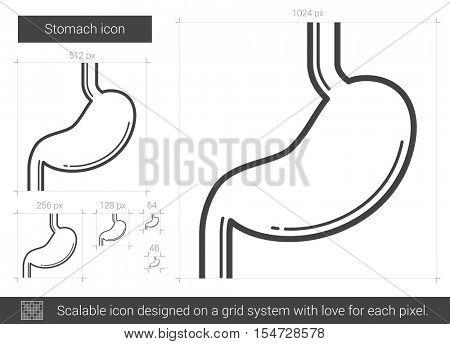 Stomach vector line icon isolated on white background. Stomach line icon for infographic, website or app. Scalable icon designed on a grid system.