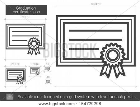 Graduation certificate vector line icon isolated on white background. Graduation certificate line icon for infographic, website or app. Scalable icon designed on a grid system.