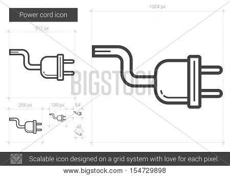 Power cord vector line icon isolated on white background. Power cord line icon for infographic, website or app. Scalable icon designed on a grid system.