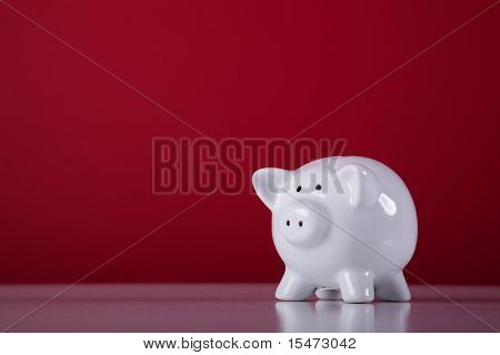 piggy bank with a red background