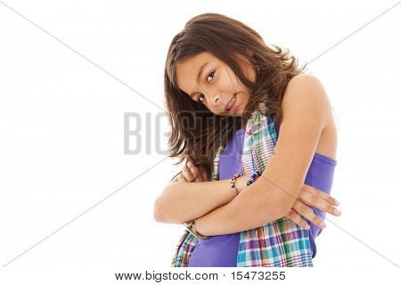 ten year beautiful little girl posing (isolated on white)