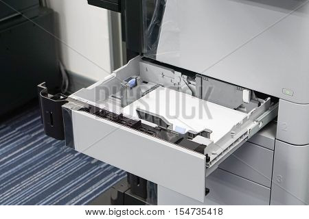 printer tray ready to put paper sheet for printing