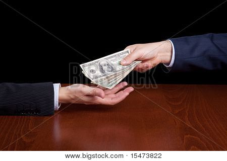 businessman giving money