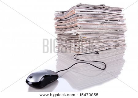 Electronic news in the internet (isolated on white)