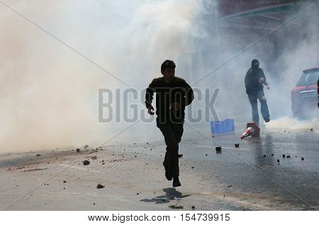 ISTANBUL, TURKEY - MAY 1: The demonstrators who are against to prohibition of 1 May celebration were arrested by the police on May 1,2008 in Istanbul,Turkey