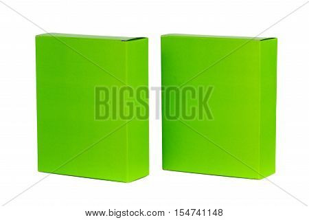 Two Green Box With Lid Open Or Green Paper Package Box Isolated