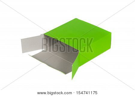 Green Box With Lid Open Or Green Paper Package Box Isolated On White