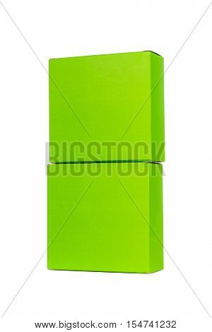 Green Boxes Stacked Or Green Paper Package Box Isolated On White