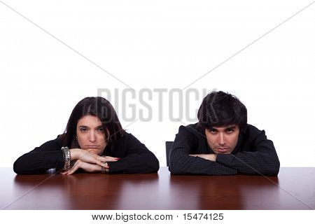 men and woman at the office with relationship problems