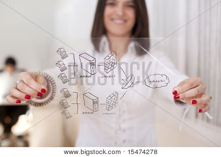 Happy businesswoman at her office showing a firewall schema (selective focus with shallow DOF).