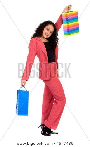 Business Woman Happy With Her Shopping Bags