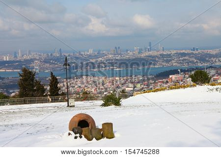 The Bosphorus Bridge on a snowy day in Istanbul,Turkey