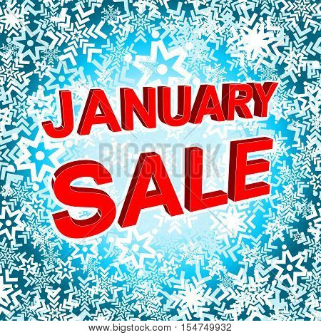 Big winter sale poster with JANUARY SALE text. Advertising blue and red banner template