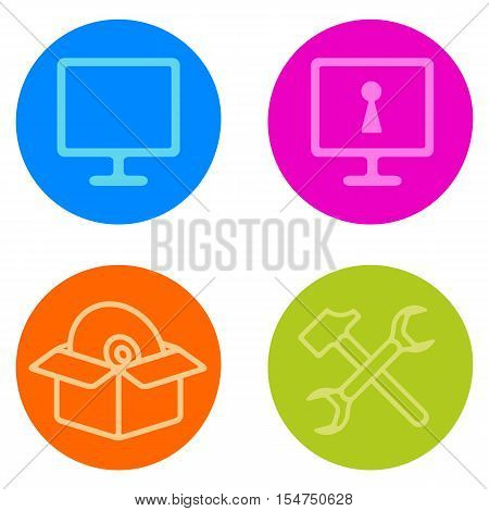 Computer Repair Vector Icon Set In Line Style