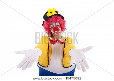 Funny clown with arms open (isolated on white)
