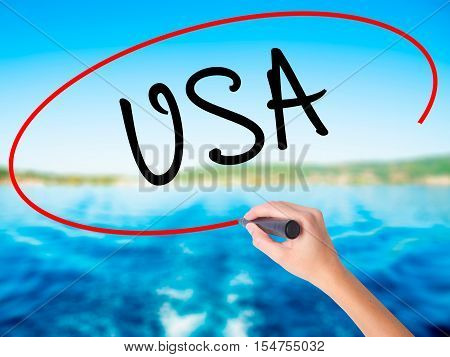 Woman Hand Writing Usa With A Marker Over Transparent Board