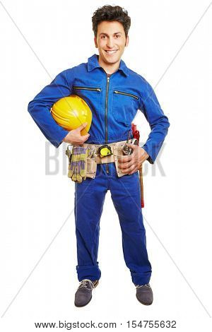 Worker with hardhat and blue overall and tool belt isolated on white background