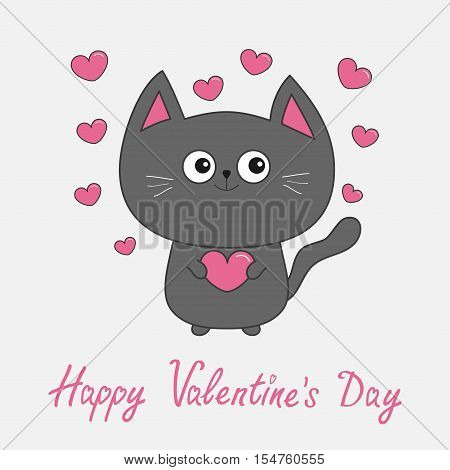 Happy Valentines Day pink text. Gray contour cat holding heart set. Cute cartoon character. Kawaii animal Pet collection. Greeting card. Flat design. White background. Vector illustration