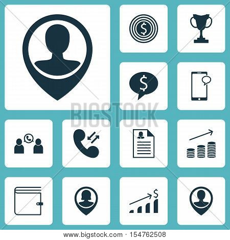 Set Of Hr Icons On Coins Growth, Messaging And Cellular Data Topics. Editable Vector Illustration. I