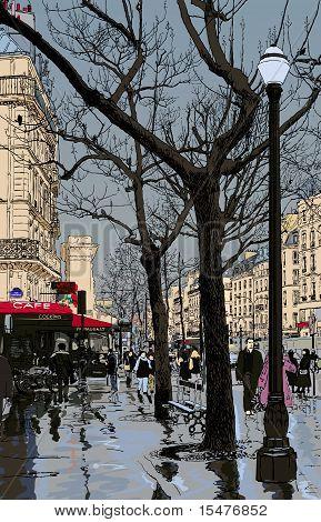 Illustration Of A Street In Paris Under The Rain