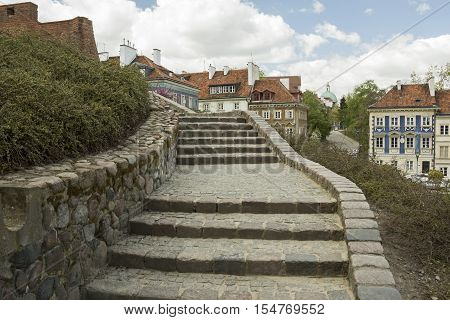 A staiway going to the old town (Stare Miasto) of Warsaw Poland