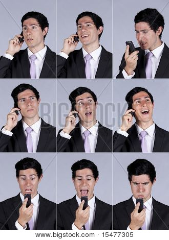 Multiple images of a businessman face expression while talking on his cellular (isolated on gray)