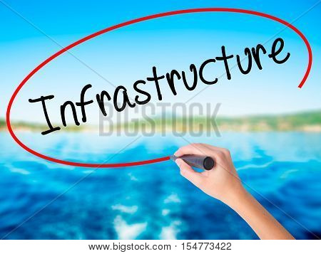 Woman Hand Writing Infrastructure  With A Marker Over Transparent Board