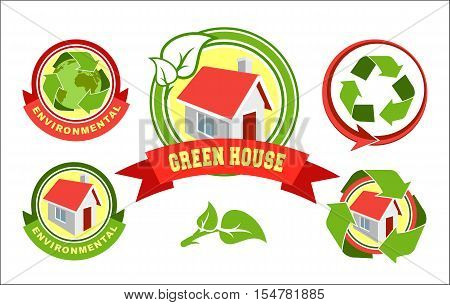Vector set of signs symbols emblem of eco energy which is obtained from natural resources such as sunlight water flows wind tides and geothermal heat. Green house that runs on natural energy.