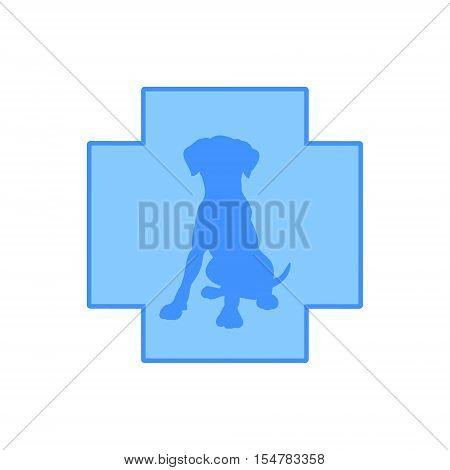 The silhouette of the dog against the blue cross veterinary clinic logo vector