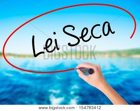 Woman Hand Writing Lei Seca (prohibition Alcohol Law N Portuguese) With A Marker Over Transparent Bo