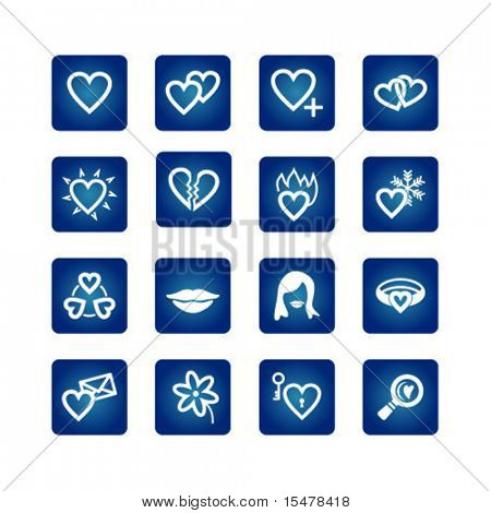 Icon set. Hearts, love, valentine