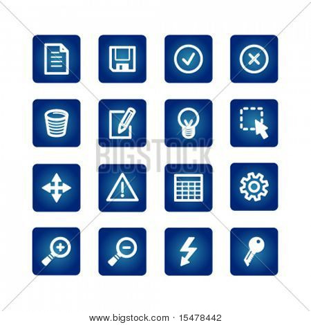 interface icons set on the blue background