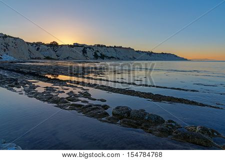 Sunrise at the Scala dei Turchi in Sicily, Italy