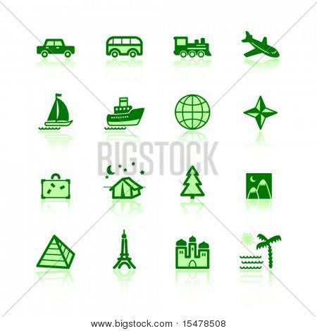 green travel icons
