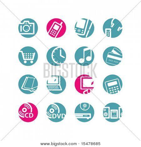 círculo de los iconos de la e-shop