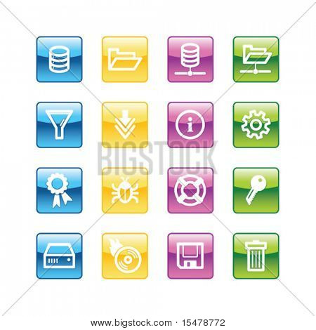 Aqua server icons. Vector file has layers, all icons in four versions are included.
